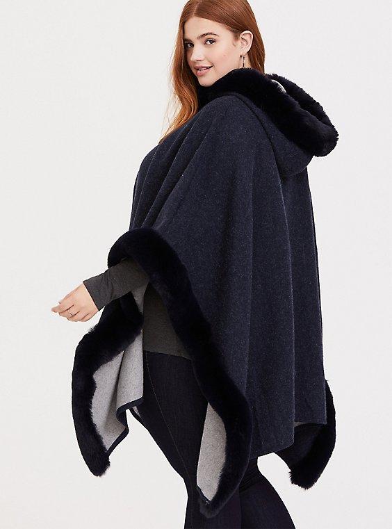 Dark Blue Fur Trim Hooded Ruana, , hi-res
