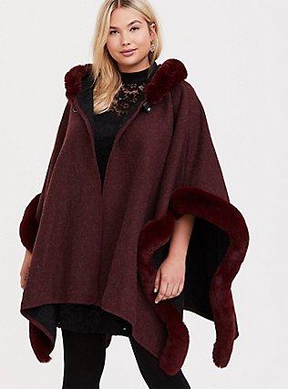 Burgundy Purple Faux Fur Trim Hooded Ruana, , hi-res