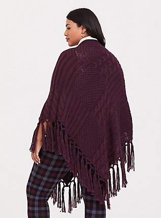 Burgundy Purple Fringe Poncho, , alternate
