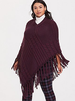 Burgundy Purple Fringe Poncho, , hi-res