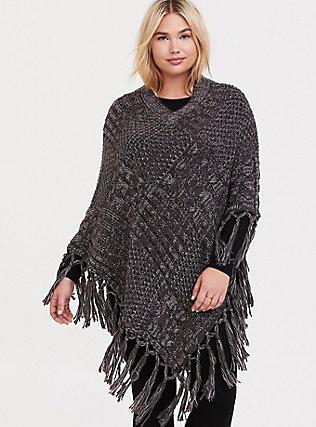Plus Size Grey Cable-Knit Fringe Poncho, , alternate