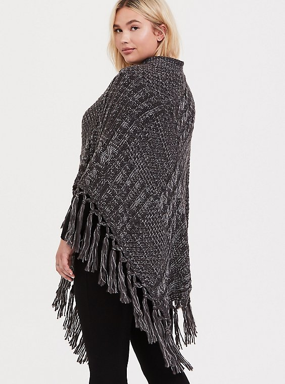 Grey Cable-Knit Fringe Poncho, , hi-res