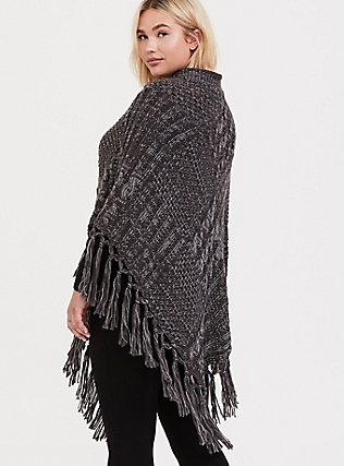 Plus Size Grey Cable-Knit Fringe Poncho, , hi-res