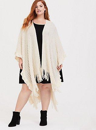 Plus Size Ivory Sequin Cozy Ruffle Ruana, , hi-res