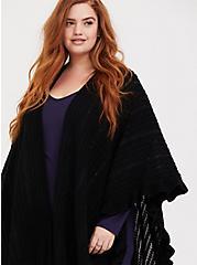 Plus Size Black Sequin Ruffle & Fringe Trim Ruana, , alternate