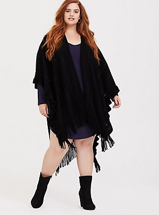 Black Sequin Ruffle & Fringe Trim Ruana, , hi-res