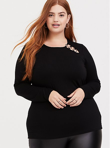 Plus Size Super Soft Black O-Ring Long Sleeve Tee, DEEP BLACK, alternate