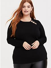 Super Soft Black O-Ring Long Sleeve Tee, DEEP BLACK, alternate