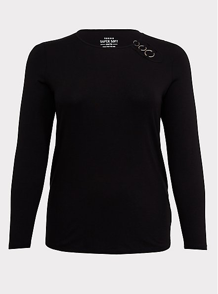 Plus Size Super Soft Black O-Ring Long Sleeve Tee, DEEP BLACK, hi-res