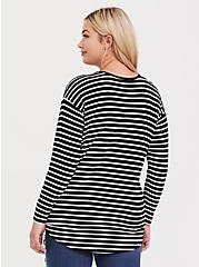Super Soft Black & White Stripe Side Knot Top, STRIPE - WHITE, alternate