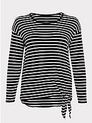 Super Soft Black & White Stripe Side Knot Top, STRIPE - WHITE, hi-res
