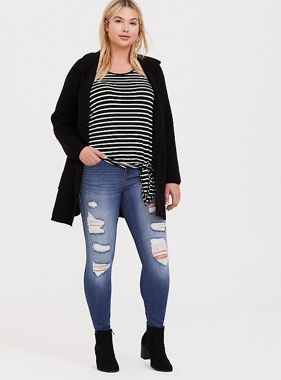Plus Size Super Soft Black & White Stripe Side Knot Top, , hi-res