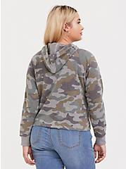 Plus Size Heathered Grey Camo Midi Hoodie, CAMO, alternate