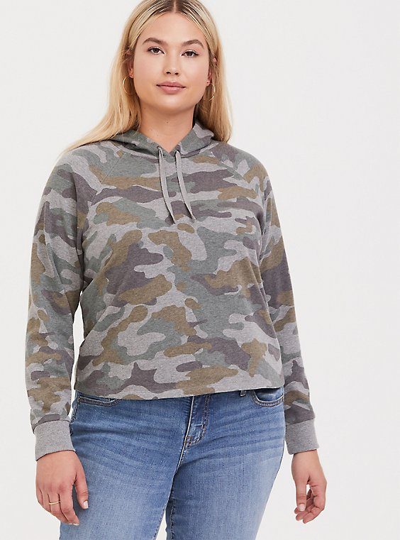 Heathered Grey Camo Crop Hoodie, , hi-res