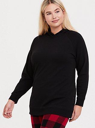 Black Fleece Snap-Button Hem Hoodie, DEEP BLACK, hi-res