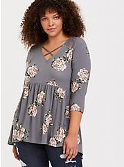 Super Soft Grey Floral Crisscross Babydoll Top, FLORALS-GREY, alternate