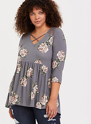 Super Soft Grey Floral Crisscross Babydoll Top, FLORALS-GREY, alternate