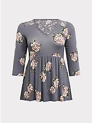 Super Soft Grey Floral Crisscross Babydoll Top, FLORALS-GREY, hi-res