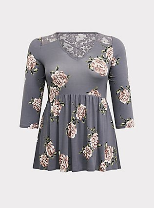 Super Soft Grey Floral Crisscross Babydoll Top, FLORALS-GREY, flat