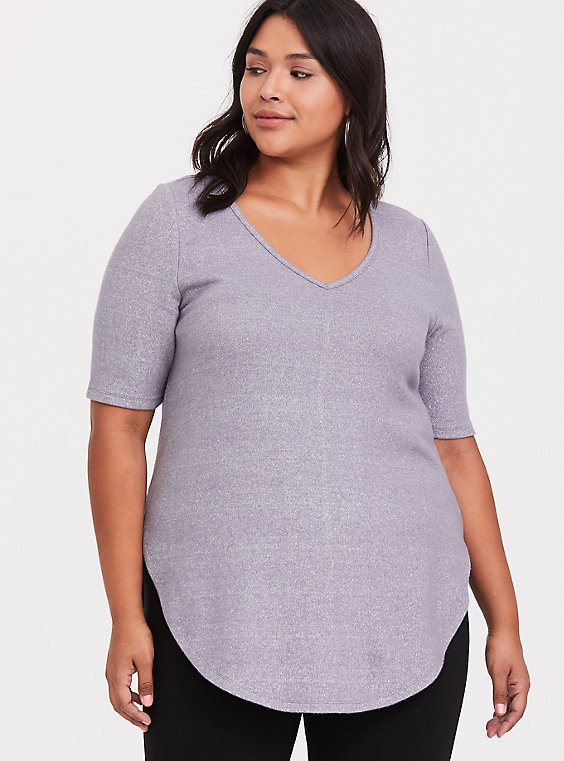 Plus Size Grey Sparkle Hacci Tunic Tee, SILVER GREY, hi-res