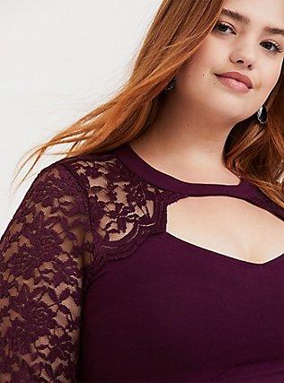 Purple Choker Neck Lace Long Sleeve Foxy Tee, HIGHLAND THISTLE, alternate
