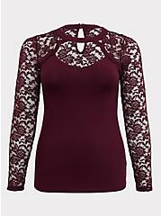 Purple Choker Neck Lace Long Sleeve Foxy Tee, HIGHLAND THISTLE, hi-res