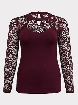 Purple Choker Neck Lace Long Sleeve Foxy Tee, HIGHLAND THISTLE, flat