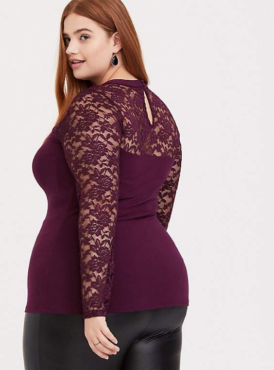 Purple Choker Neck Lace Long Sleeve Foxy Tee, , hi-res