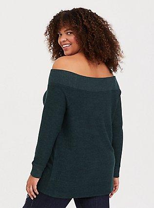 Plus Size Super Soft Plush Green Off Shoulder Sweatshirt Tunic Tee, GREEN GABLES, alternate