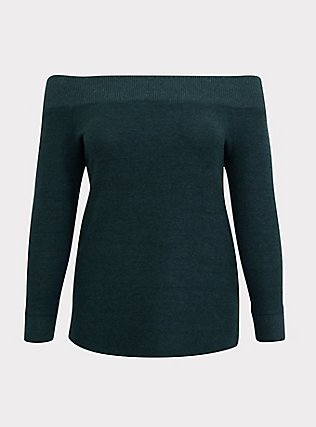 Plus Size Super Soft Plush Green Off Shoulder Sweatshirt Tunic Tee, GREEN GABLES, flat