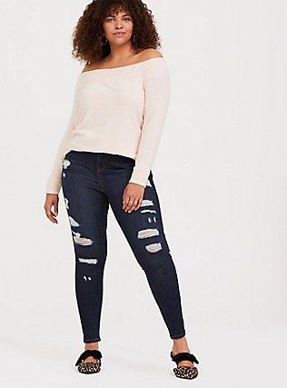 Plus Size Super Soft Plush Light Pink Off Shoulder Sweatshirt Tunic Tee, PALE BLUSH, alternate