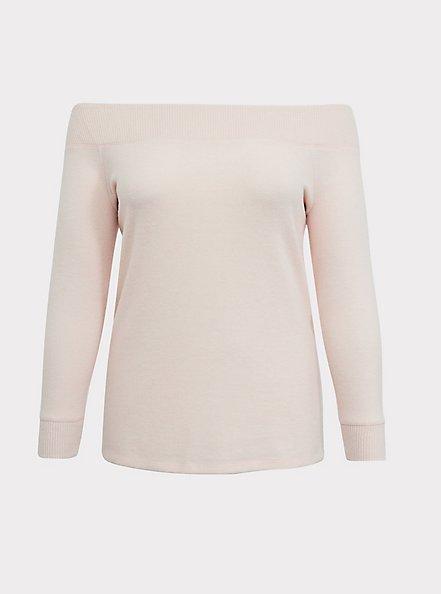 Super Soft Plush Blush Pink Off Shoulder Sweatshirt Tunic Tee, PALE BLUE, hi-res