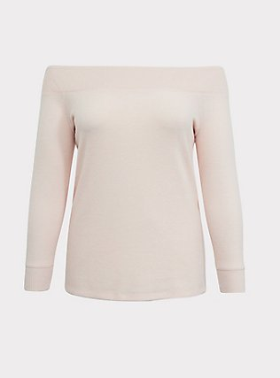 Super Soft Plush Light Pink Off Shoulder Sweatshirt Tunic Tee, PALE BLUSH, flat