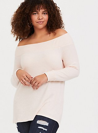 Super Soft Plush Light Pink Off Shoulder Sweatshirt Tunic Tee, PALE BLUSH, hi-res