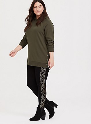 Plus Size Olive Green Fleece Snap-Button Hem Tunic Hoodie, DEEP DEPTHS, alternate