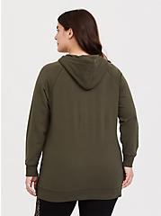 Olive Green Fleece Snap-Button Hem Tunic Hoodie, DEEP DEPTHS, alternate