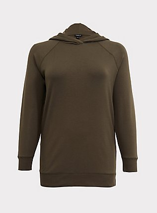 Plus Size Olive Green Fleece Snap-Button Hem Tunic Hoodie, DEEP DEPTHS, flat