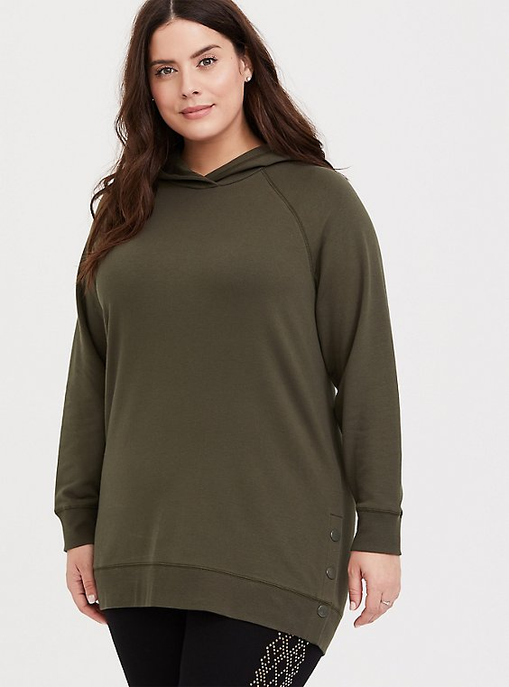 Olive Green Fleece Snap-Button Hem Tunic Hoodie, , hi-res