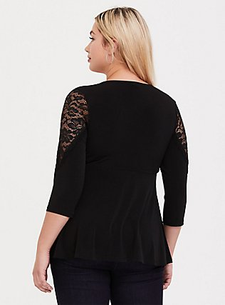 Black Studio Knit Lace Insert Wrap Top, DEEP BLACK, alternate