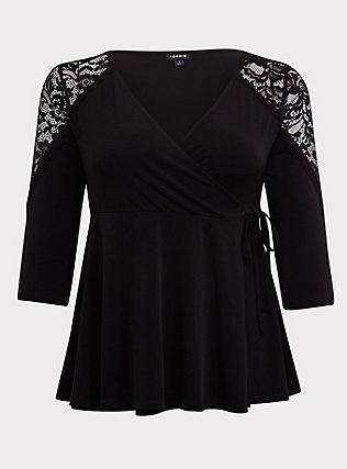 Black Studio Knit Lace Insert Wrap Top, DEEP BLACK, flat