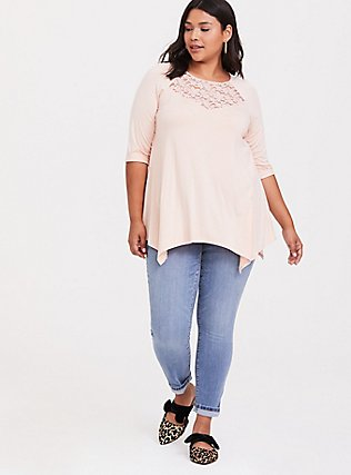 Super Soft Light Pink Lace Inset Handkerchief Tee, PALE BLUE, alternate