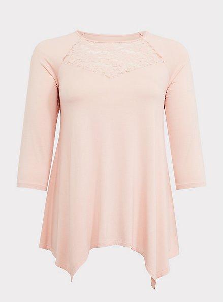 Super Soft Light Pink Lace Inset Handkerchief Tee, PALE BLUE, hi-res