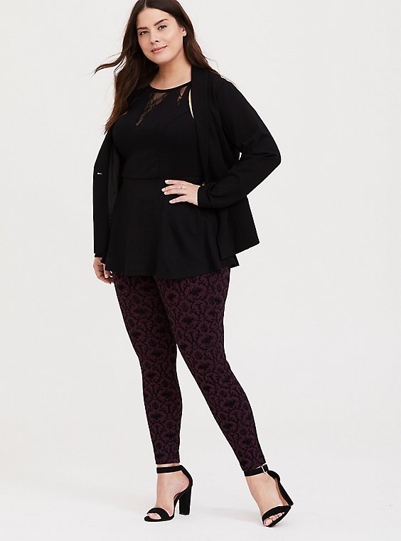 Studio Ponte Slim Fix Pixie Pant - Burgundy Purple & Black Flocked Print, , hi-res
