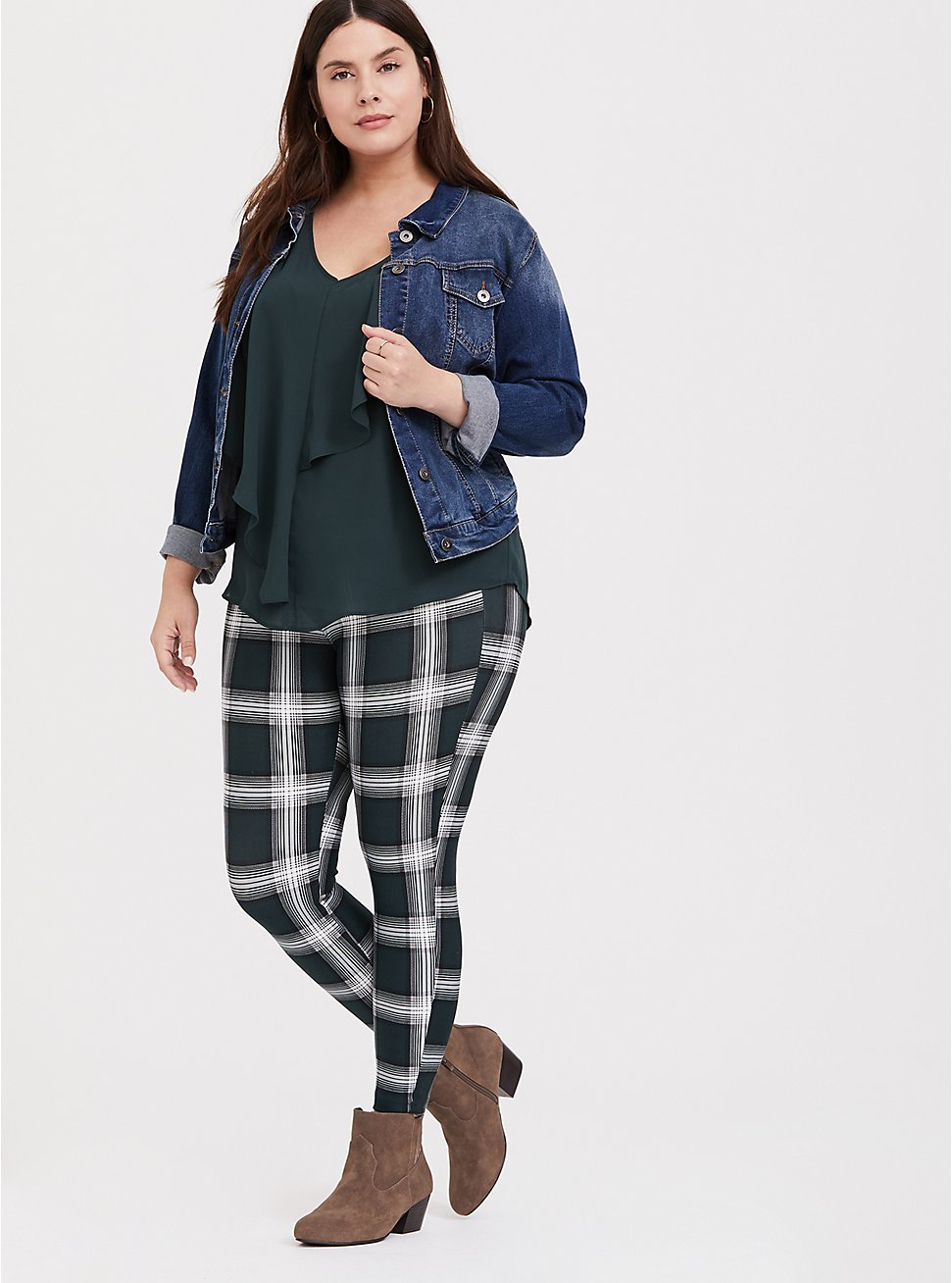 Studio Premium Ponte Slim Fix Pixie Pant - Dark Green Plaid, PLAID, hi-res