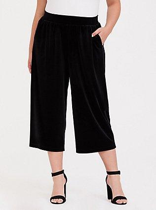 Black Velvet Culotte Pant, DEEP BLACK, alternate
