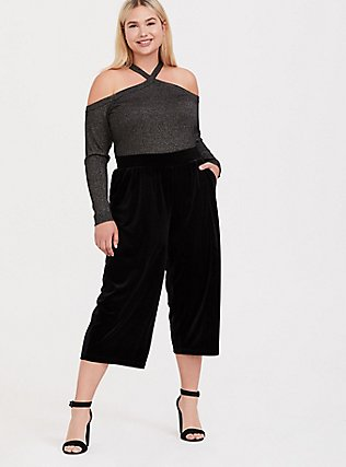Black Velvet Culotte Pant, DEEP BLACK, hi-res