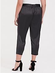 Plus Size Dark Grey Satin Tie-Front Cigarette Pant, ASPHALT, alternate