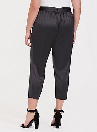 Dark Grey Satin Tie-Front Tapered Pant, ASPHALT, alternate