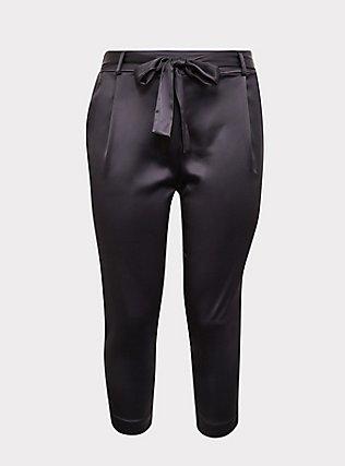 Dark Grey Satin Tie-Front Tapered Pant, ASPHALT, flat