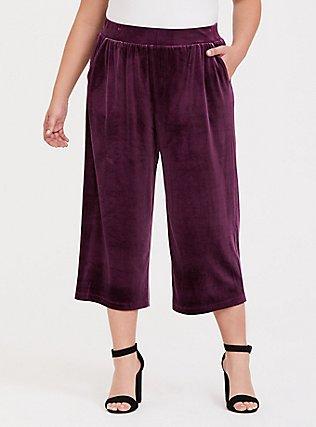 Burgundy Purple Velvet Culotte Pant, HIGHLAND THISTLE, alternate